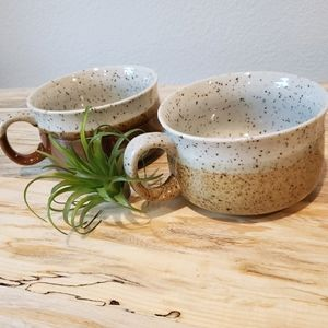 Vintage Speckled Cermaic Stoneware Mugs